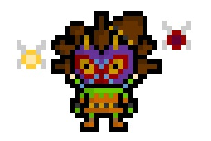 pixelblock:  The Skull Kid, mysteriously mischeivous denizen of the Lost Woods, seen here with Majora's Mask and accompanied by Tatl and Tael.  Now rendered in teeny tiny Pixelvision !  Requested by:http://theycallmemos.tumblr.com/
