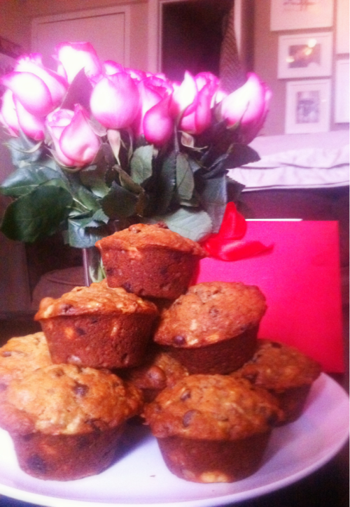 I celebrate love everyday but today I woke up to fresh-baked muffins, a card and roses - all from the love of my life.