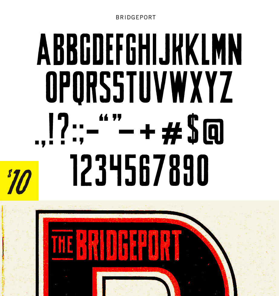 BRIDGEPORT - UPPERCASE WITH ALTERNATES AS LOWERCASE FOR B,K,S. Including punctuation and numerals. $10.00 - Buy Now