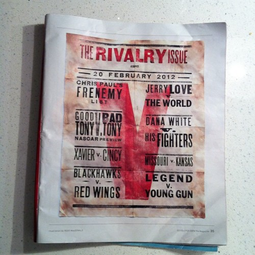 The Rivalry Issue @espnthemag poster by Ross Macdonald (Taken with instagram)