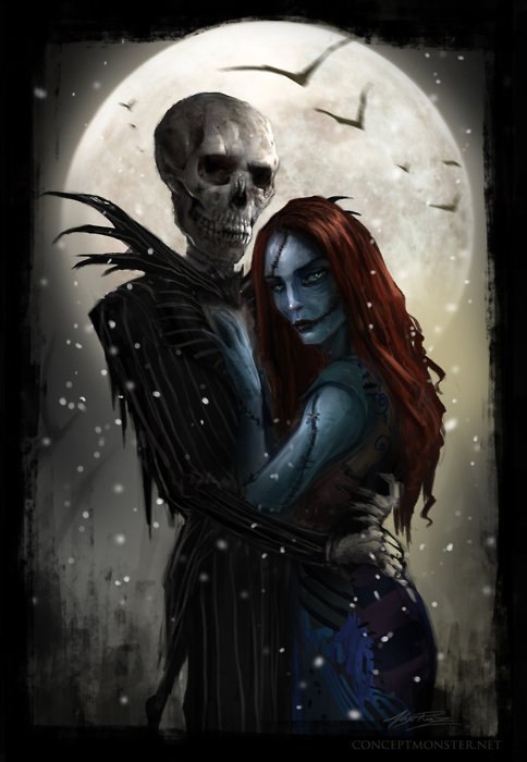 This is the coolest painting of Jack and Sally from The Nightmare Before Christmas <3