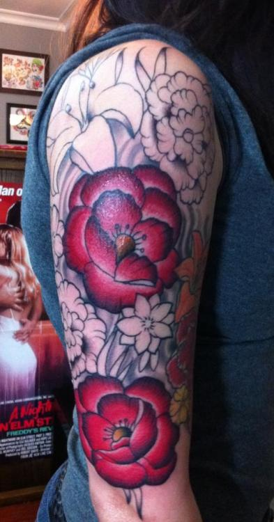 my half sleeve. done by carrie campisano @ artistic impressions in niagara falls, ontario. one more session til it's fully complete :)