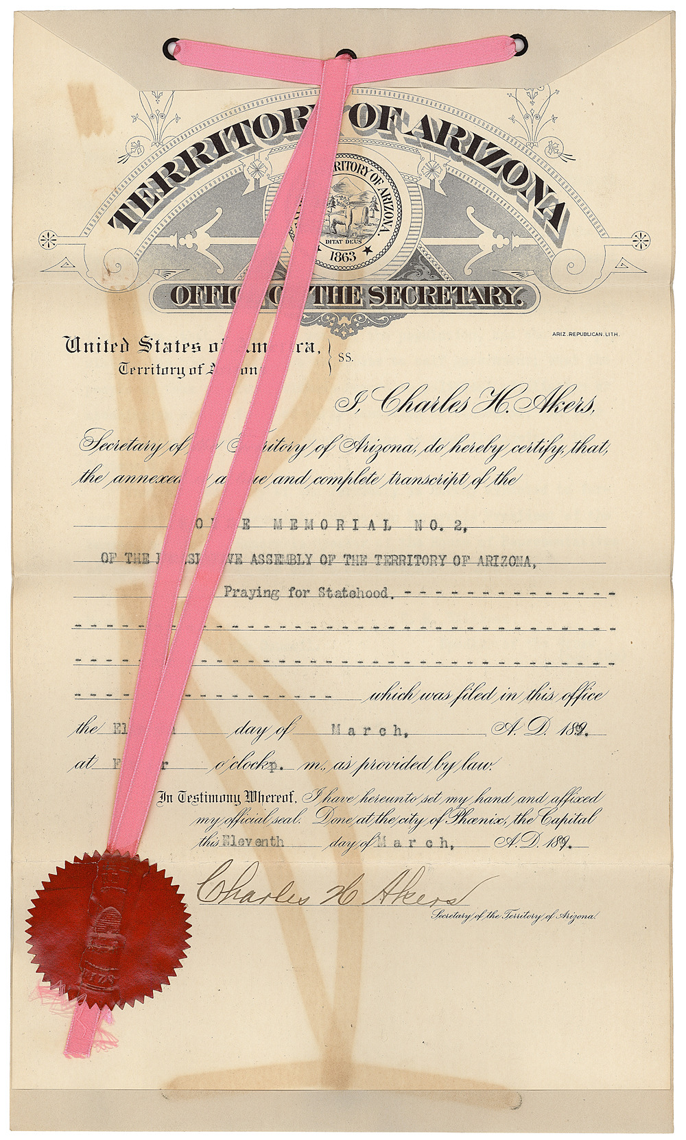 congressarchives:  Today marks the 100th anniversary for Arizona's statehood! Check out our image gallery to see a selection of documents we've compiled from Arizona's path to statehood. Memorial of the Territory of Arizona praying for Statehood, 3/11/1899, Records of the U.S. House of Representatives