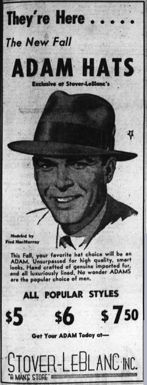 Adam Hats advert featuring Fred MacMurray