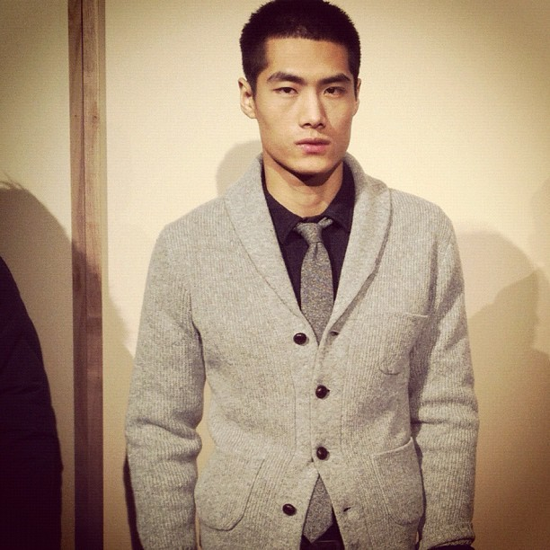 The cardigan as jacket trend continues at J.Crew #attheshows #nyfw  (Taken with instagram)