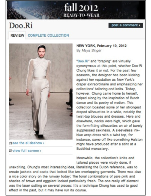 Style.com's review of Doo.Ri's Fall 2012 collection!