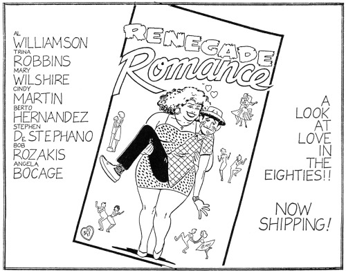 Promotional ad for Renegade Romance #1 with art by Gilbert Hernandez, 1987.