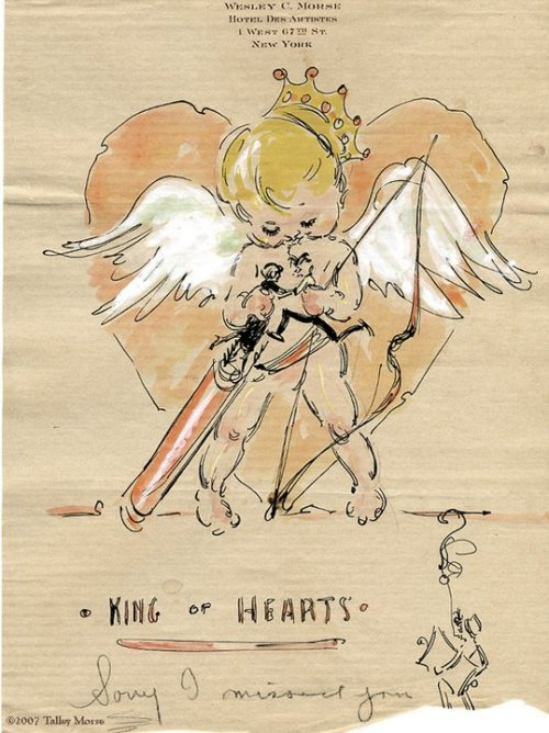 "A Valentine from cartoonist Wesley Morse to Ziegfeld Girl Avonne Taylor, 1922-23(?). Notice the pencilled in ""Sorry I missed you"" and the quickly sketched self-caricature of Morse with a smoke formed question mark hovering over his head. The 80 illustrated letters Morse penned for Taylor are the only surviving document of their long-ago affair."