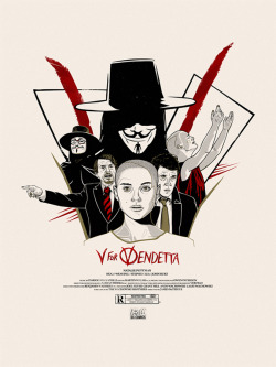 V For VENDETTA  I love this film and wanted to practice my drawing and stuff.. so I made this poster.