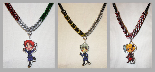 gil-narmor:  These are some Hetalia Necklaces I and my Fiancee made. the chibis were drawn by her, and I made the necklaces. Interested? Want something custom made? Send me an Ask, or note me on my DeviantArt.