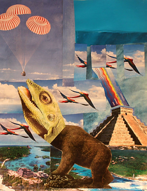 larrycarlson:  LARRY CARLSON, Yucatán collage #3, collage on paper, 11inX14in, 2010.
