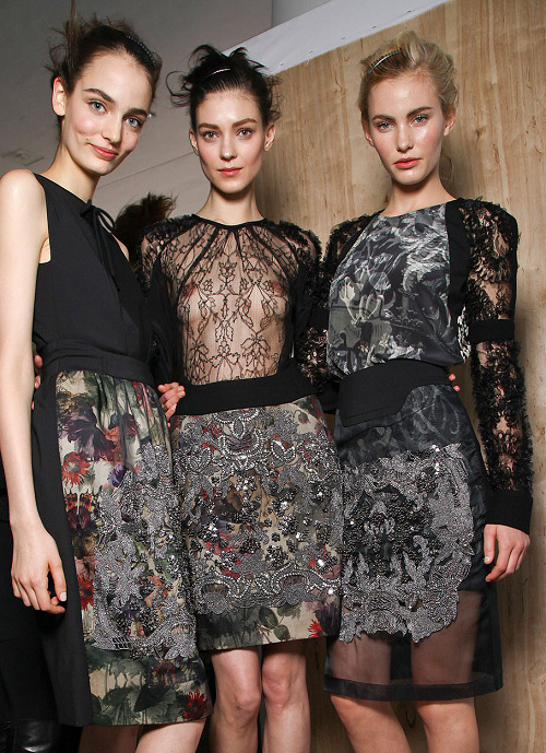 Zuzanna Bijoch, Kati Nescher and Emily Baker backstage at Preen Fall 2012