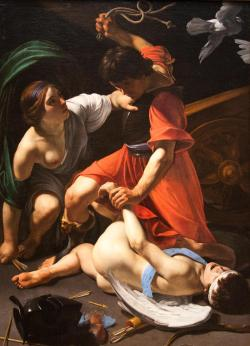 sexartandpolitics:  jonnodotcom:  Bartolomeo ManfrediCupid Chastised1613 (@ the Art Institute of Chicago)  This is another of my favorite paintings at the AIC. It's fucking huge (175.3 x 130.6 cm) and it's just fascinating. I'd love to read an essay about it. Anybody got one?