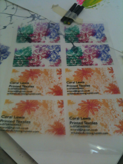 My business cards. Printed on acetate. Ready for Paris!!