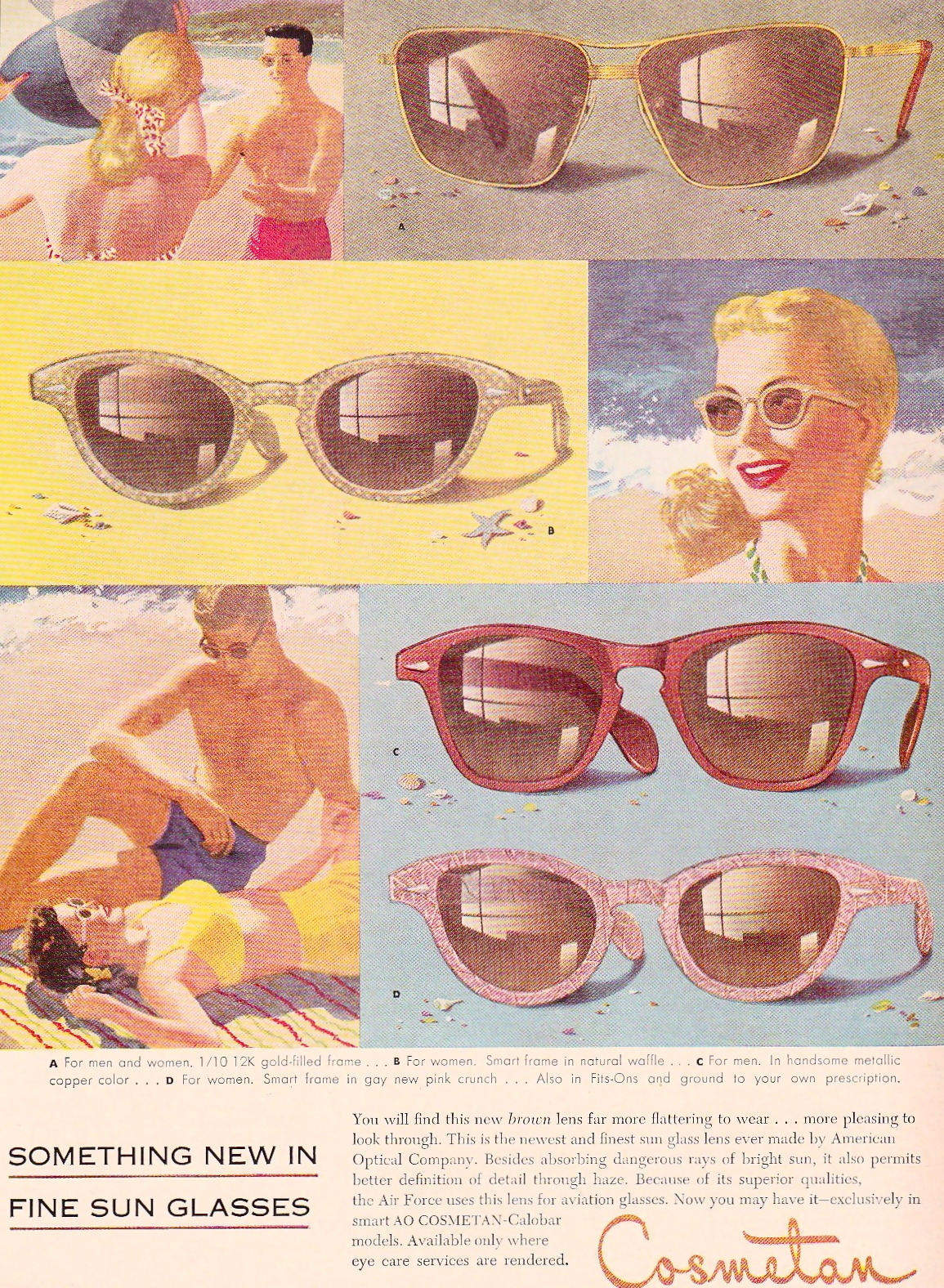 theniftyfifties:  1952 Cosmetan sunglasses advertisement.