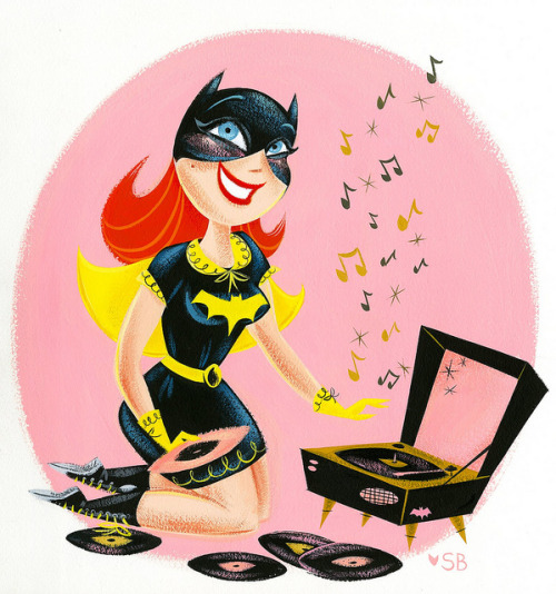 Beat Girl Babs, by Stephanie Buscema. This Barbara Gordon piece features a few of my favorite fashion staples: a cute dress, a peter pan collared capelet, my preferred incarnation of the Bat-symbol, a patent yellow belt, lace-up boots, and a matching record player (of course!). Basically, the perfect ensemble for Batusi-ing the night away~ P.S. For those of you who are attending Boston Comic Con in April, be sure to swing by Stephanie Buscema's table, where she will have prints of this piece (and a selection of other beautiful artwork) for sale!