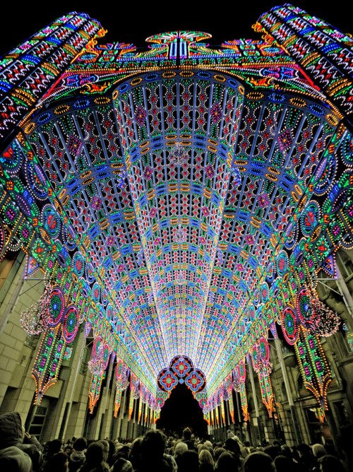 The Luminaire De Cagna LED-light display at the 2012 Light Festival in Ghent, Belgium