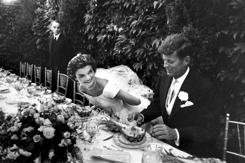 life:  Senator John Kennedy and his bride, Jacqueline Bouvier Kennedy, smile during their wedding reception, September 12, 1953, in Newport, Rhode Island. This was originally published in the September 26, 1953, issue of LIFE. (see more — The Best of LIFE)