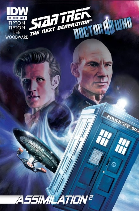 This is the official cover for the Doctor Who/Star Trek: TNG crossover: Assimilation2  Two of the biggest sci-fi titles of all-time — Doctor Who and Star Trek: The Next Generation — will join forces in their first officially commissioned comic-book crossover. Released by IDW Publishing, Star Trek: The Next Generation/Doctor Who: Assimilation2 will launch in May. In the eight-issue series, the Doctor and his  companion will team up with Captain Jean-Luc Picard and the crew of the  U.S.S. Enterprise against an unholy alliance between the Borg and the  Cybermen. Scott and David Tipton, the authors behind Star Trek: Infestation, will be assisted by Doctor Who writer Tony Lee, with artwork by J.K. Woodward.