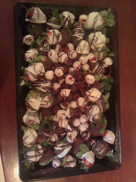 chocolate covered strawberries and cherries! <3