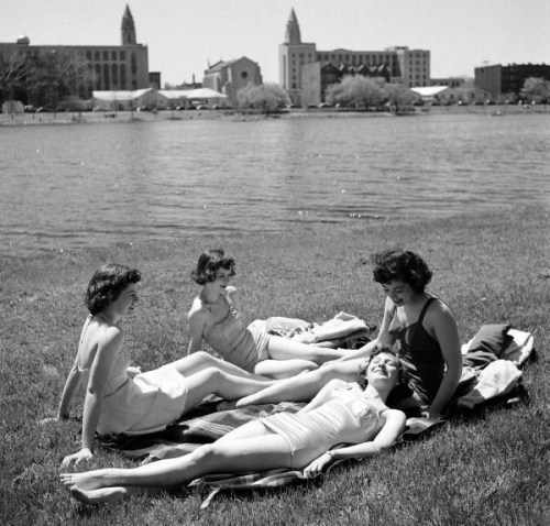 Yale Joel, Boston University students relaxing by the Charles River, Boston, Massachusetts, USA, May 1950.