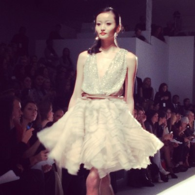 Rose quartz hand embroidered silk organza dress. Dennis Basso #nyfw  (Taken with instagram)