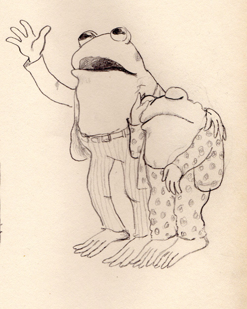 I've been drawing Arnold Lobel's Frog and Toad illustrations as warm up doodles lately.
