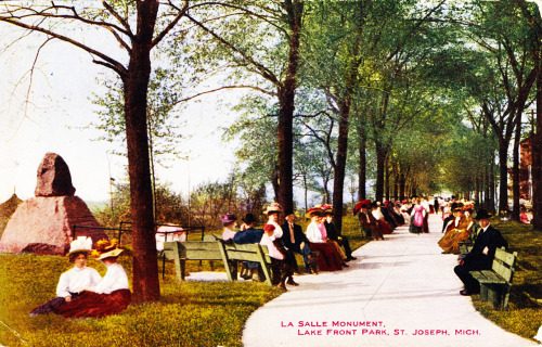 #mi #ushistory LaSalle Monument, Lake Front Park, St Joseph, Michigan Mailed in July 1911 from nearby Stevensville, Michigan to Berlin, Ontario. During World War One, Berlin, Ontario's name was patriotically changed to Kitchener to commemorate the late Field Marshal Horatio Herbert Kitchener, 1st Earl Kitchener - the British Secretary of State for War. On the way to Russia in 1916, in a gale, his ship hit a mine and his body was never found.
