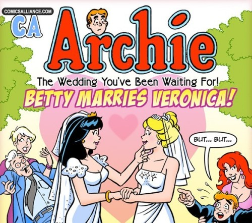 Great Comics That Never Happened Valentine's Day Special: Betty Marries Veronica! In our recurring feature, ComicsAlliance brings you the best comic book adventures that do not, could not, and sometimes should not exist: Great Comics That Never Happened! This week, Chris Sims and the amazing artist Kerry Callen bring you the Riverdale romance you've been waiting for! Archie Wedding Special: Betty Marries VeronicaStory by Chris SimsArt by Kerry CallenClick here for the full cover and back-story.