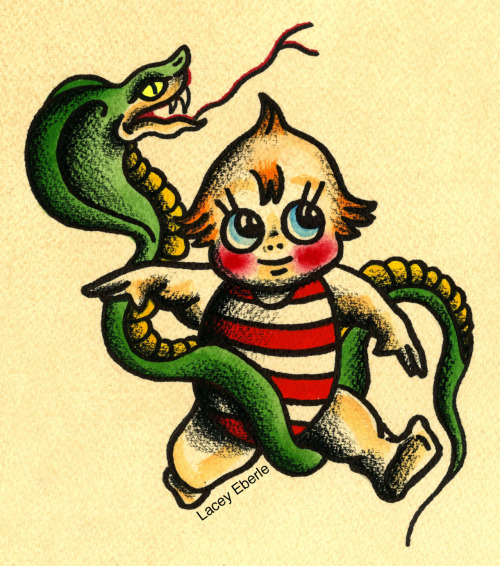 Kewpie and snake by me, Lacey Eberle.