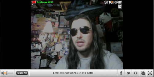 Who asked Andrew W.K. to put a shoe on top of his head?