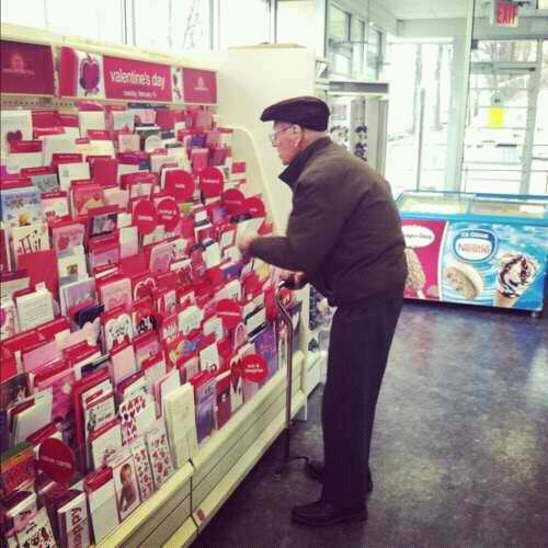 "k1lluminati:   This old man was thinking really hard which card to get in front of the Valentine's card selection. ""Are you getting a Valentine's Day card for your wife?"" he replies""No my wife died 3 years ago from breast cancer but I still buy her roses and a card and bring them to her grave to prove to her that she was the only one that will ever have my heart""    Omg"