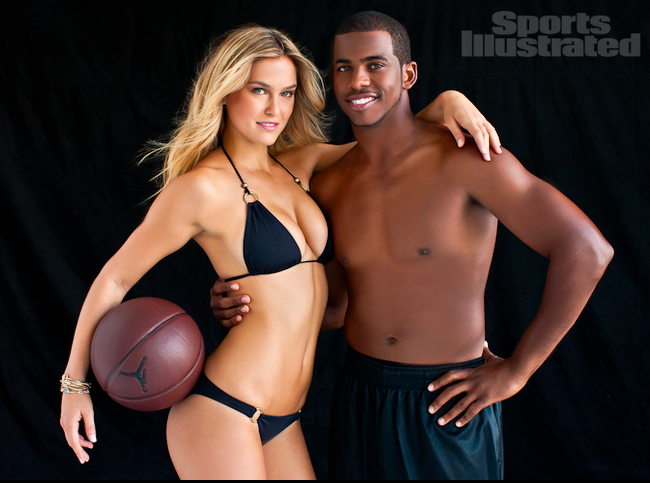 Day 245: Modelin' Chris Paul poses with supermodel Bar Rafaeli for the newest SI Swimsuit issue. Not bad, Chris, not bad at all. Head over to the site for the full photoshoot.