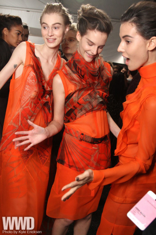 womensweardaily:  Backstage at Vera Wang Fall 2012