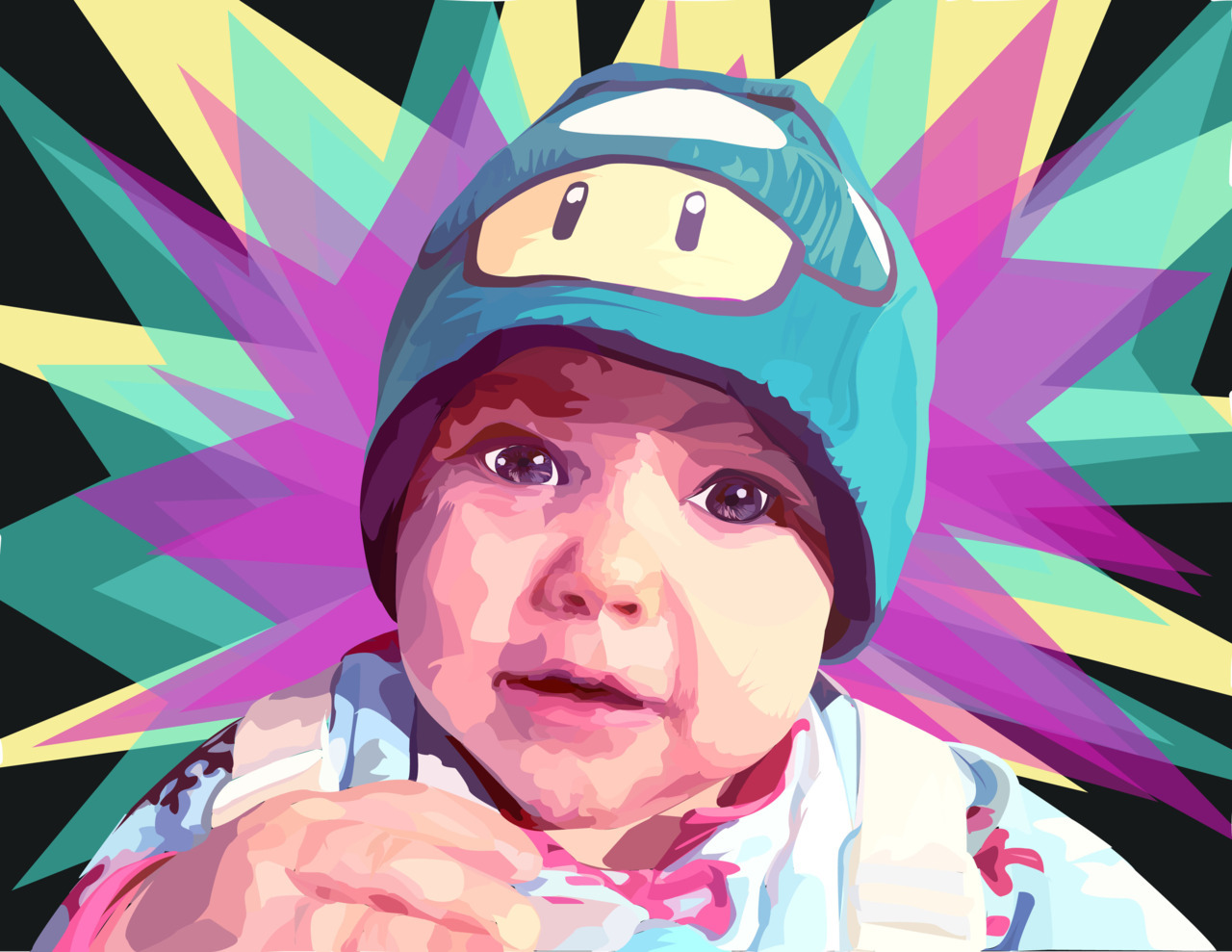kayicaterpillars:  I made a portrait of my niece using Adobe Illustrator for my Digital Imaging class. I am really happy with it. J'ai dessiné ma nièce avec Adobe Illustrator pour ma classe d'imagen digital. (je suis dessolée pour mon française. je suis sur mon troisième semestre de française)   dibuje a mi sobrina usando Adobe Illustrator