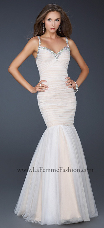 Come from sea to land in this mermaid La Femme dress!