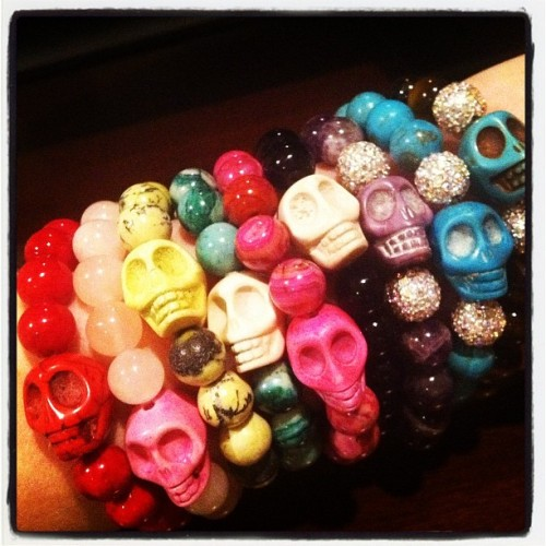 Skull bracelets in every color for a new @etsy customer #etsy #skull #handmafe (Taken with instagram)
