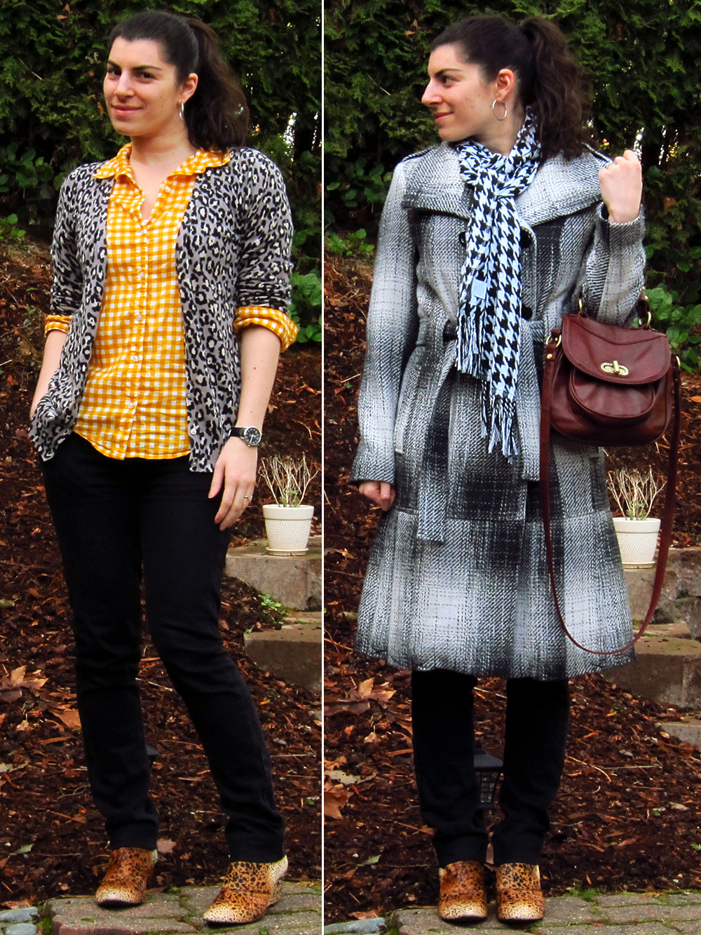 "01.10.2012 [tue] Worn to: work, Type Tuesday Blouse, cardigan: Old NavyJeans: Empyre (via Zumiez)Booties: Matisse ""Nugent"" (via Zappos)Hoop earrings: GNW (via Fred Meyer)Watch: Timex (via Target)Coat: Calvin Klein (via Wilson's Leather)Scarf: giftPurse: Forever 21  Thoughts:Angie's fab pattern mixing blog post this morning coupled with a serious need to wear something cheerful today inspired me to mixmixmix! And I adore how it turned out, so fun! I'm not sure how crazy this is on the Scale Of Print Mix Madness (feels pretty tame to me), but either way this outfit helped cheer me up immensely. I know heavy pattern mixing isn't everyone's cup of tea, and that's OK with me, but I do think this neutral leopard with colorful gingham mix could be a great ""starter mix"" for those who are just getting into print mixing (and it doesn't have to be in two tops, see below!). I would extract the formula as: leopard item + gingham item + neutral item (pulling from the leo print) + fun bootie. I also got a great compliment on this outfit at the pub! While chatting with one of the typographers about business he suddenly stopped, mid sentence, and commented on how much he appreciated that I'd put the two prints next to each other. And he couldn't even see the shoes! Totally made my day ^^ Behind the outfit:As I said above, this outfit started with Angie's pattern mixing post. Her examples show 4 prints that are easy to mix with florals, but as I don't wear florals I was really only looking at the first column and how they mix together since I wear all of those. I didn't realize until later that gingham and leopard were the last two prints in that first column! There are many ways to add print to a printed top: topper (cardigan, blazer, vest), scarf, bottoms (skirt, pants, shorts), belt, shoes. I started looking over my printed tops, and realized that what I SHOULD be starting with is the second patterned element because, for me, those options are much more limited. So I started looking over those options instead; my eyes landed on this leopard cardigan which is folded up on the shelf above where the gold gingham shirt is hanging. I caught the color and pattern combo out of the corner of my eye and just loved it, and of course then immediately wondered how I hadn't noticed it before! From there, the bottoms that came to mind were gray or black jeans because I wanted to echo the neutral shades in the cardigan. I tried the gray first and it was a nice soft look, but when I tried the black the strong contrast really appealed to me so I went with those; it also makes the pattern mix even stronger and bolder looking. I considered several footwear options before trying these booties. First a couple different tall boots, then black flats. As I was reaching for the flats, the cheetah booties caught my eye (again!) and I thought they'd be worth a try with this. And they turned out super fun: with the black dots and cream tips picking up on the leopard above, the orange and yellow being adjacent colors (still on my mind), the cheetah being an extra shot of feline print (mrawr!), and they help make the mix look even more purposeful. They turned out to be my favorite detail of this outfit! I also felt like keeping the pattern mix going with the outerwear, though I do that often: tweedy plaid (coat), houndstooth (scarf), and of course the cheetah (booties)."