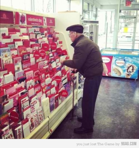 After so many years together he still buys her a card on valentines day - that my friends is true love
