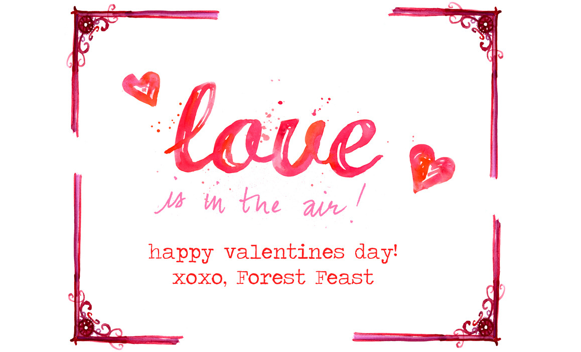 Happy Valentines Day! Hope you have a sweet one. Love, Forest Feast Photos & Illustration © Erin Gleeson