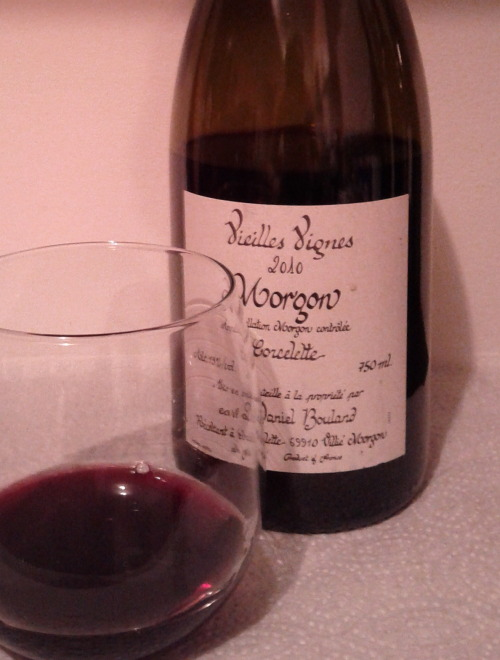 Wine Review: Daniel Bouland Morgon Corcelette, 2010Chambers St Wines, $23.99 I nearly passed by this 2010 Morgon the other night while on a wine expedition: I'm certainly glad I didn't. On the nose it is floral, beautiful, really, with aromas of raspberry and cherry. Very ripe and approachable, but not very heavy. Because it is pretty light in tannin and body, with just enough acidity to maintain balance and make your mouth water, I say it's perfect as an apéritif. I enjoyed it while lounging around my apartment after a long day at work.