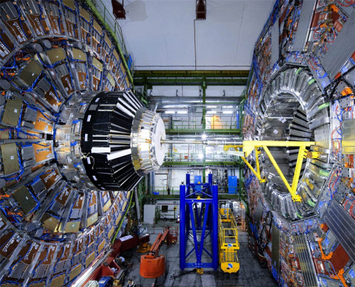 "thequantumlife:  Large Hadron Collider cranks up energy to record amounts  Currently, the 17-mile (27-kilometer) ring of superconducting magnets under the Swiss-French border is firing protons together at approximately half the energy the LHC was designed to achieve. Now, CERN has announced their decision to give the speeding protons an extra boost this year by increasing the energy output by 1 Teraelectron volt (TeV) to a record-breaking 8 TeV. This small amplification may seem conservative considering the LHC is designed to be pushed to 14 TeV, but when living on the leading edge of physics discovery, it pays to be cautious. The 2008 quench cost CERN dearly. Due to a faulty electrical connection between two of the magnets used to ""steer"" protons traveling close to the speed of light, vacuum conditions inside the magnets were lost, culminating in six tons of liquid helium being dumped into the tunnel and severe damage to dozens of supercooled magnets. If this were to happen again due to some unforeseen weakness in the superconducting ring of magnets, it would be a devastating blow for an otherwise flawless three years of LHC operations. And if the LHC were to break in 2012, it would hurt the continuing hunt for the Higgs boson just at a time when tantalizing hints of a Higgs signal are beginning to show.  Best of luck, LHC. Keep cranking it up."