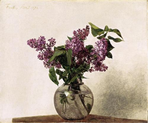 cavetocanvas:  Henri Fantin-Latour, Lilacs, 1872  I love lilacs… they remind me of home, and summer, and my mom cursing the bloody plant for going nuts in an area where technically, it should've been miserable. *wry happy face*