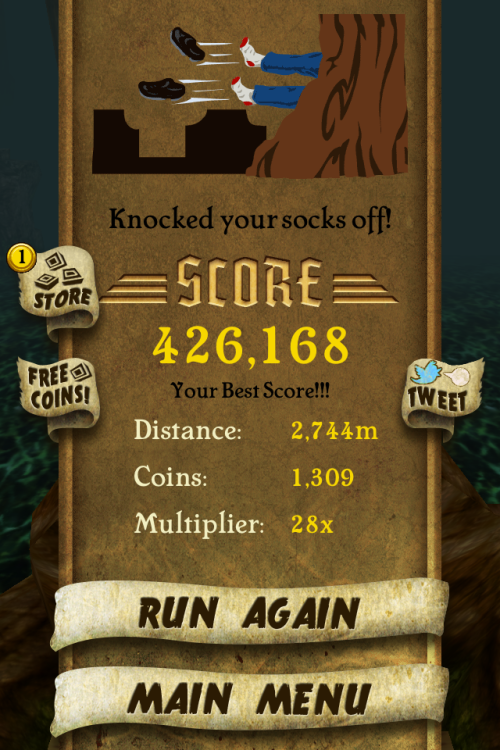 My highest score in temple run so far.