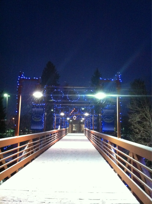 Snow. Blue light in Silverthorne, CO.