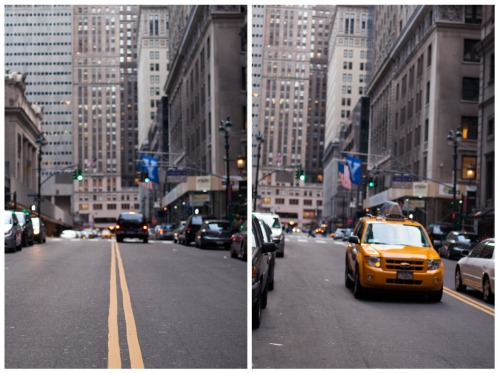 Yellow lines and cabs. Manhattan, New York.