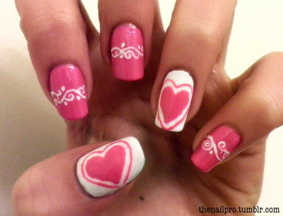 thenailpro:  happy valentines day! (late, i know) colors used: color club-french tip color club-in bloom color club-femme fetale