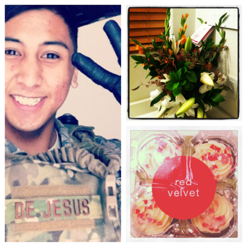 Day 11-what makes me happy. This guy. Walked into my room and found these.  Even from 2,000+ miles away he still puts in effort and thought into making me smile.  Happy Valentine's day bug! Thank you! :))))