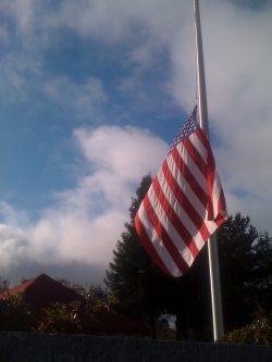 The flag over my Dad's grave. I pray for him everyday!