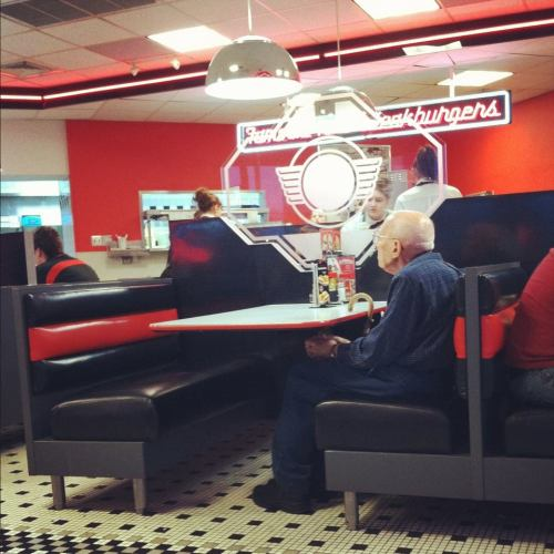 He went to Steak n Shake with his wife every year for valentine's day since before he was married. This is his first year without a valentine. OH GOD MY HEART